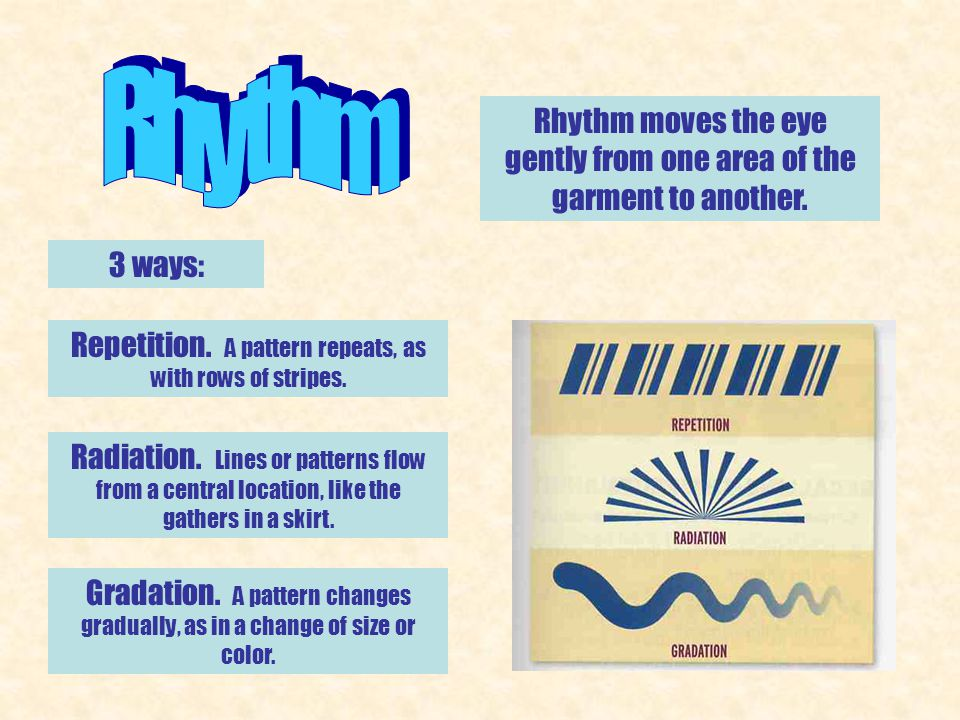 Rhythm Rhythm moves the eye gently from one area of the garment to another. 3 ways: Repetition. A pattern repeats, as with rows of stripes.