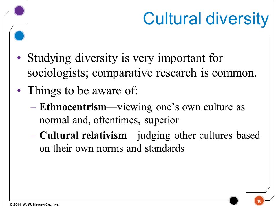 Cultural diversity Studying diversity is very important for sociologists; comparative research is common.