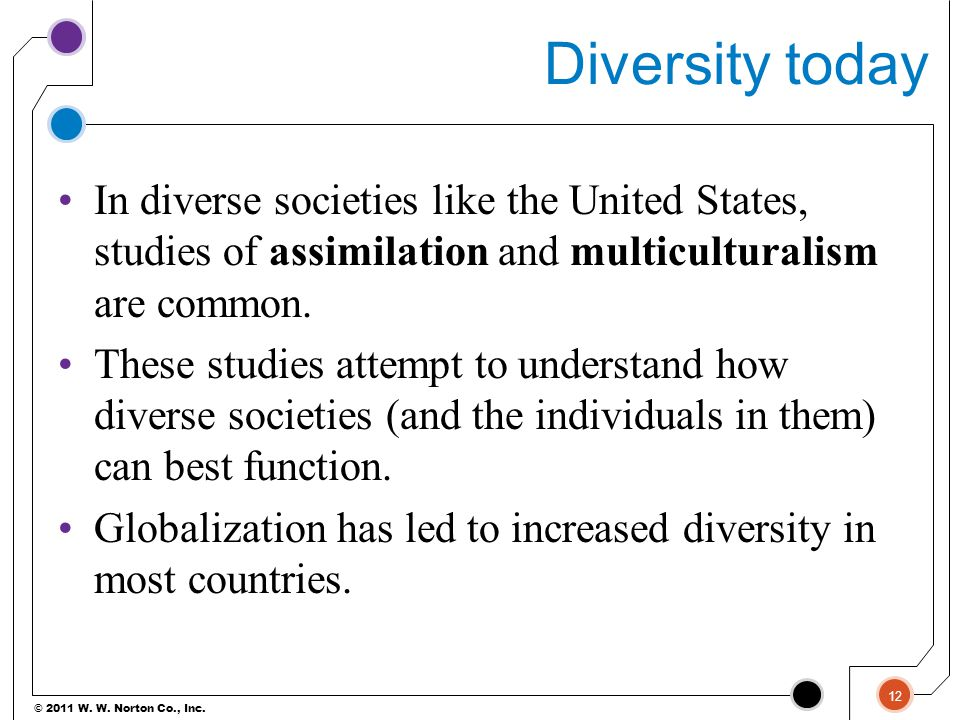 Diversity today In diverse societies like the United States, studies of assimilation and multiculturalism are common.