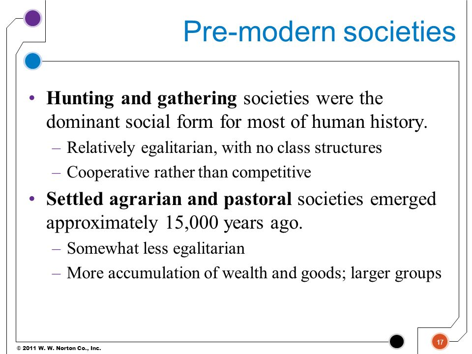 Pre-modern societies Hunting and gathering societies were the dominant social form for most of human history.