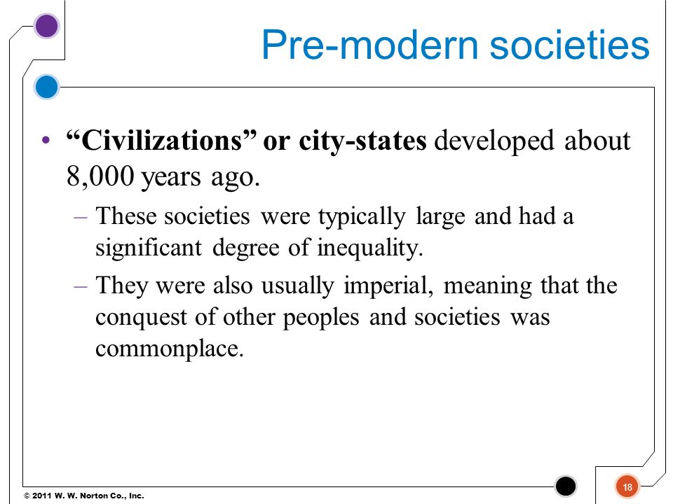 Pre-modern societies Civilizations or city-states developed about 8,000 years ago.