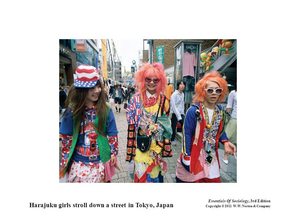 Harajuku girls stroll down a street in Tokyo, Japan