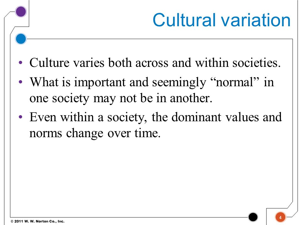 Cultural variation Culture varies both across and within societies.