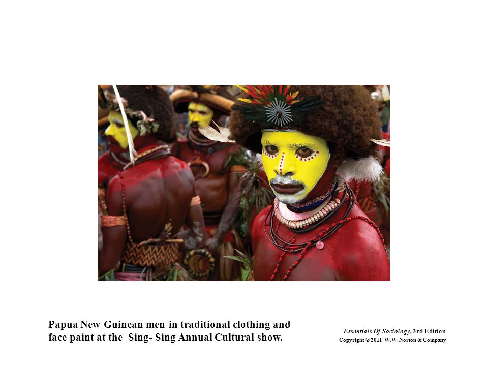 Papua New Guinean men in traditional clothing and