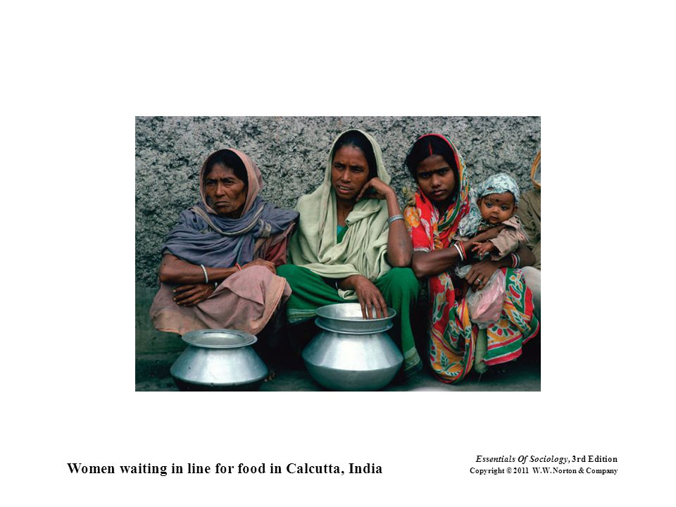 Women waiting in line for food in Calcutta, India
