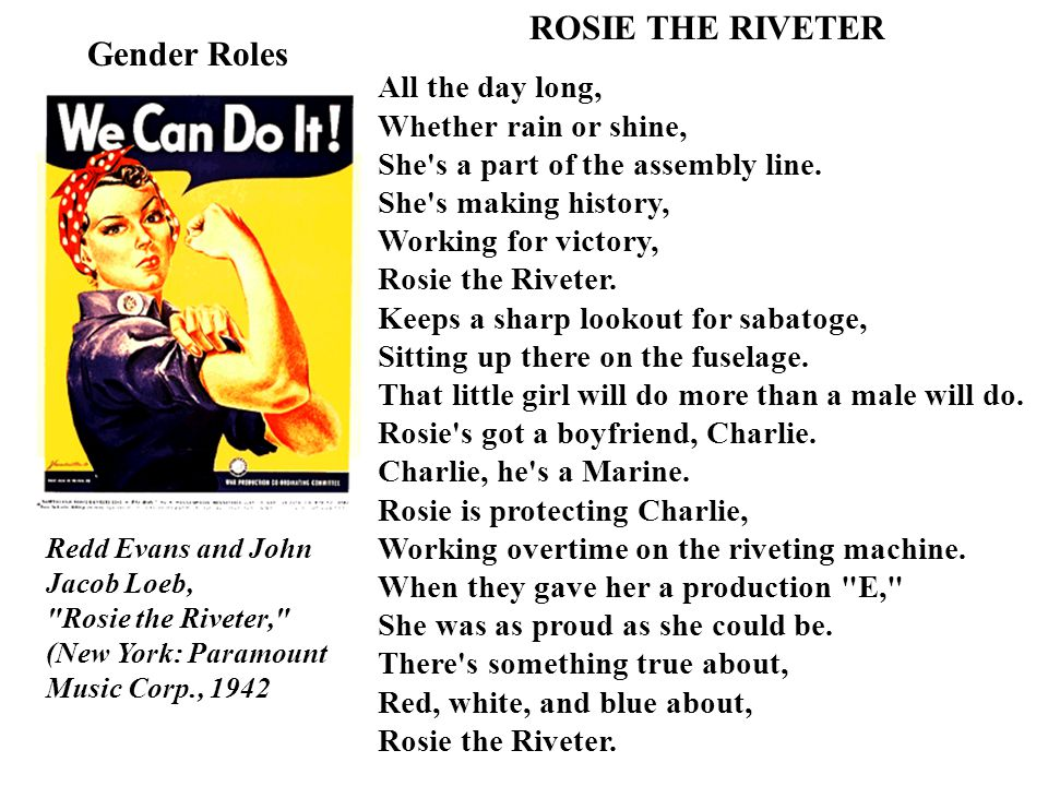 ROSIE THE RIVETER Gender Roles