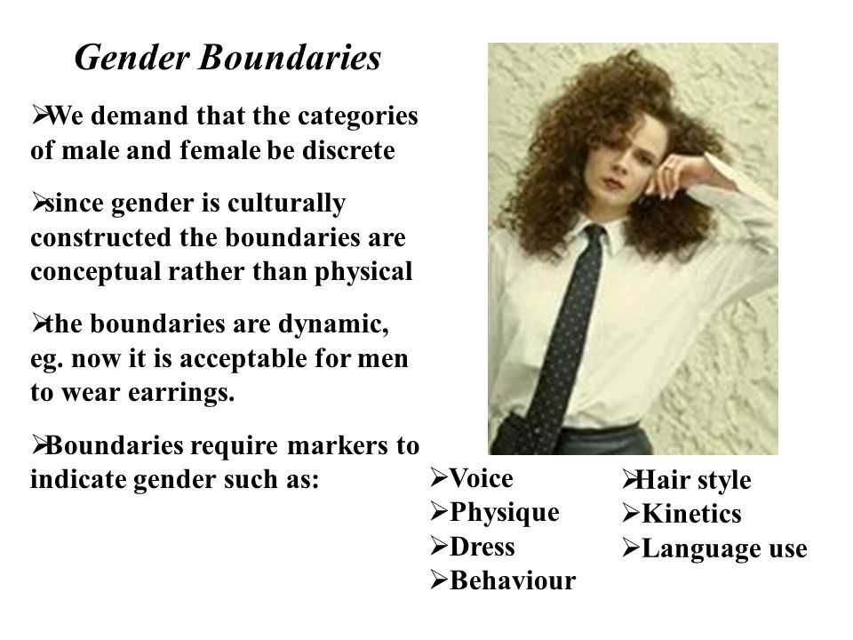 Gender Boundaries We demand that the categories of male and female be discrete.