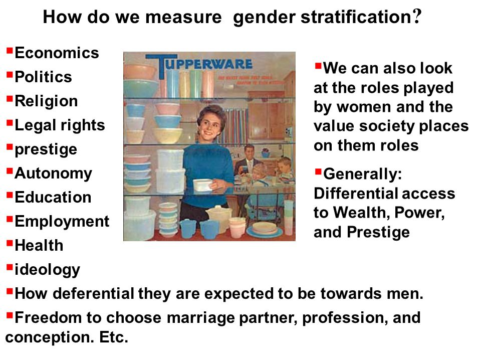 gender stratification women Gender stratification, as it refers to women's substandard status in society and men's privileged access to monetary resources, power, and prestige, is certainly nothing new to sociologists.