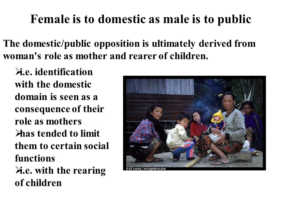 Female is to domestic as male is to public