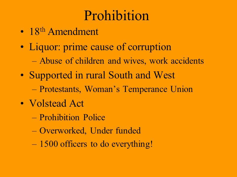 Prohibition 18th Amendment Liquor: prime cause of corruption