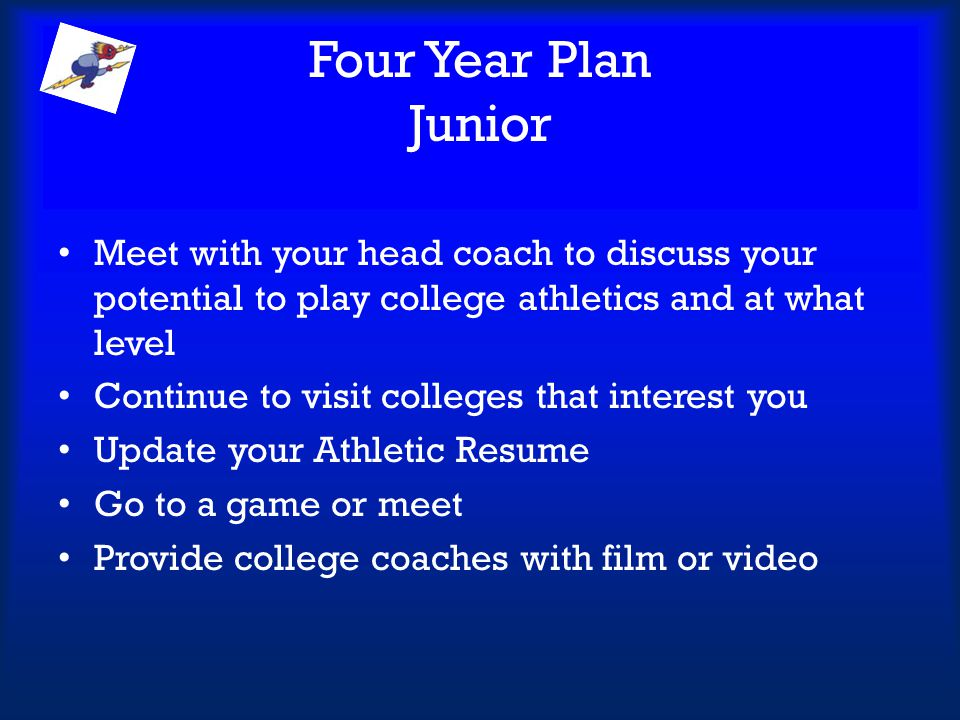 Four Year Plan Junior Meet with your head coach to discuss your potential to play college athletics and at what level.