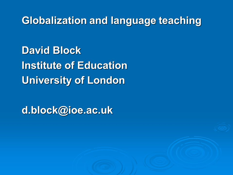Globalization and language teaching