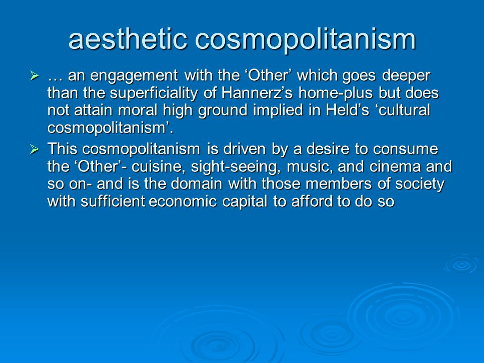 aesthetic cosmopolitanism