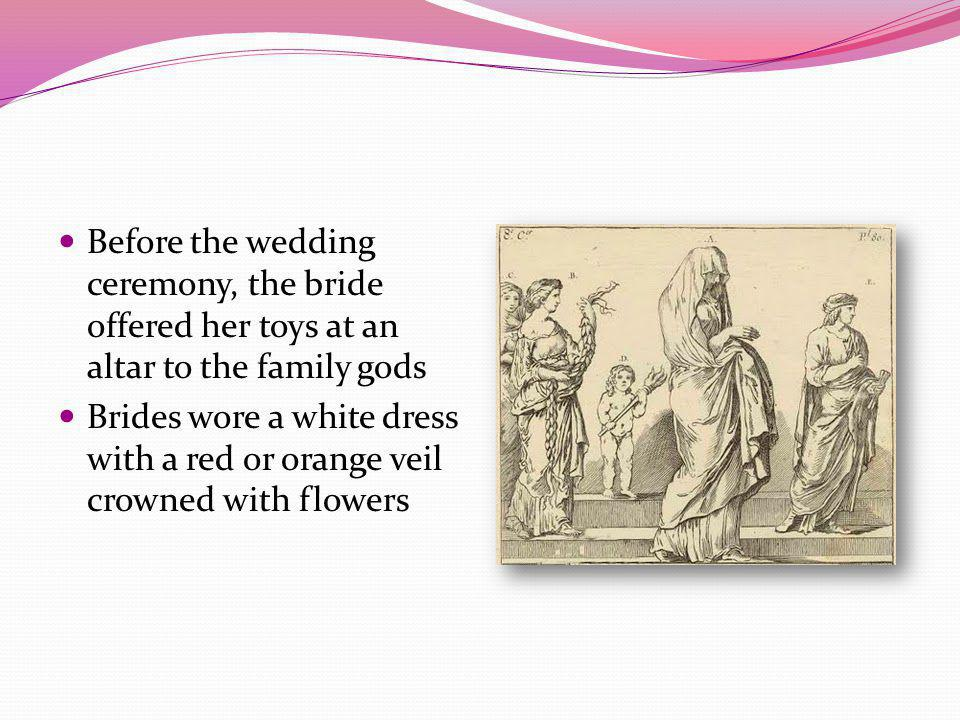 Before the wedding ceremony, the bride offered her toys at an altar to the family gods