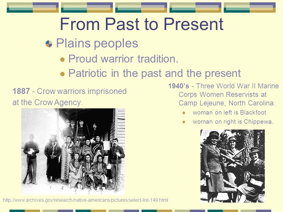 From Past to Present Plains peoples Proud warrior tradition.
