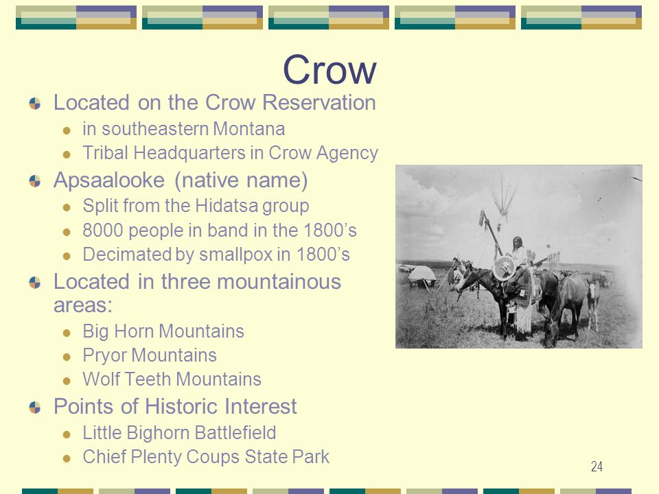 Crow Located on the Crow Reservation Apsaalooke (native name)