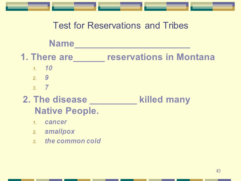 Test for Reservations and Tribes