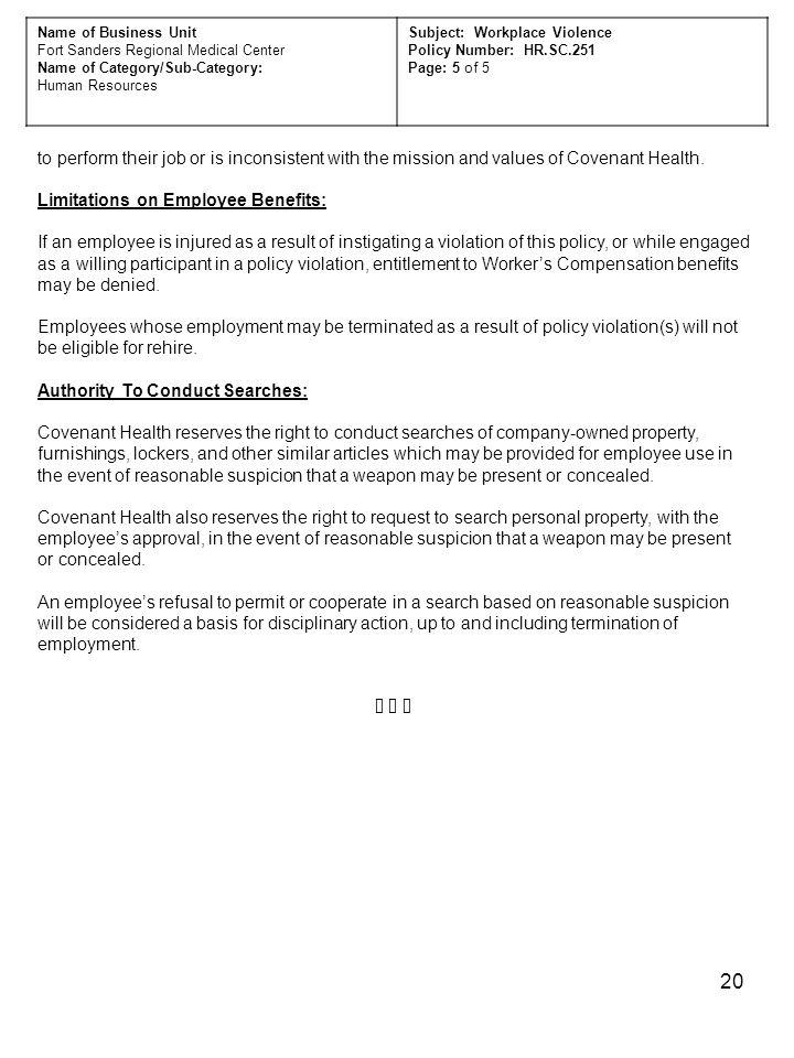 Limitations on Employee Benefits: