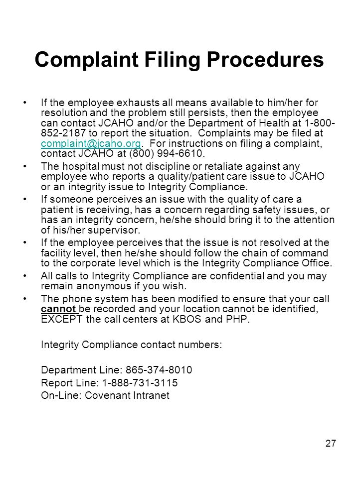 Complaint Filing Procedures