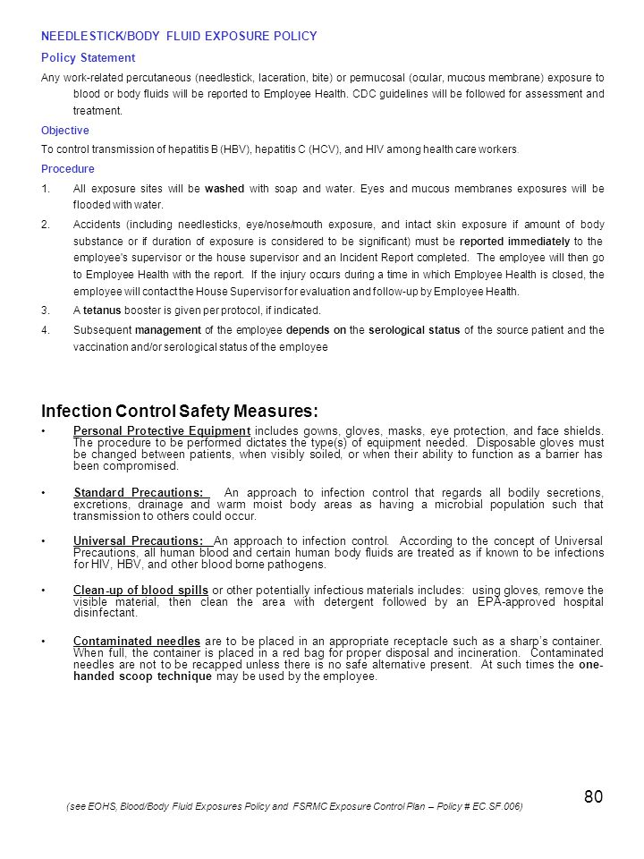 Infection Control Safety Measures: