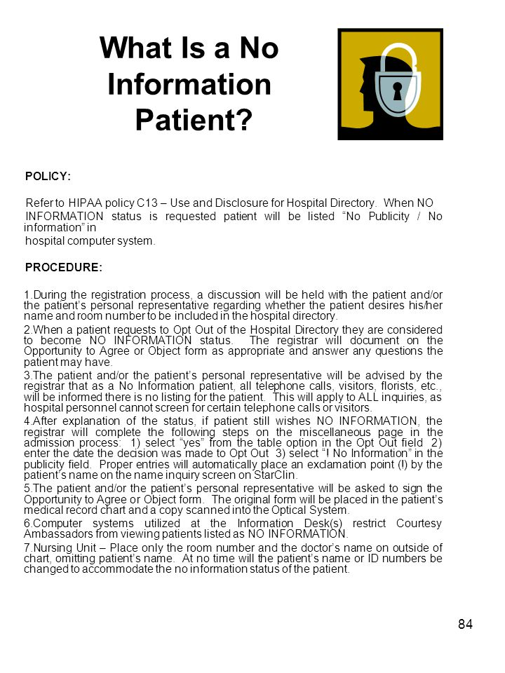 What Is a No Information Patient