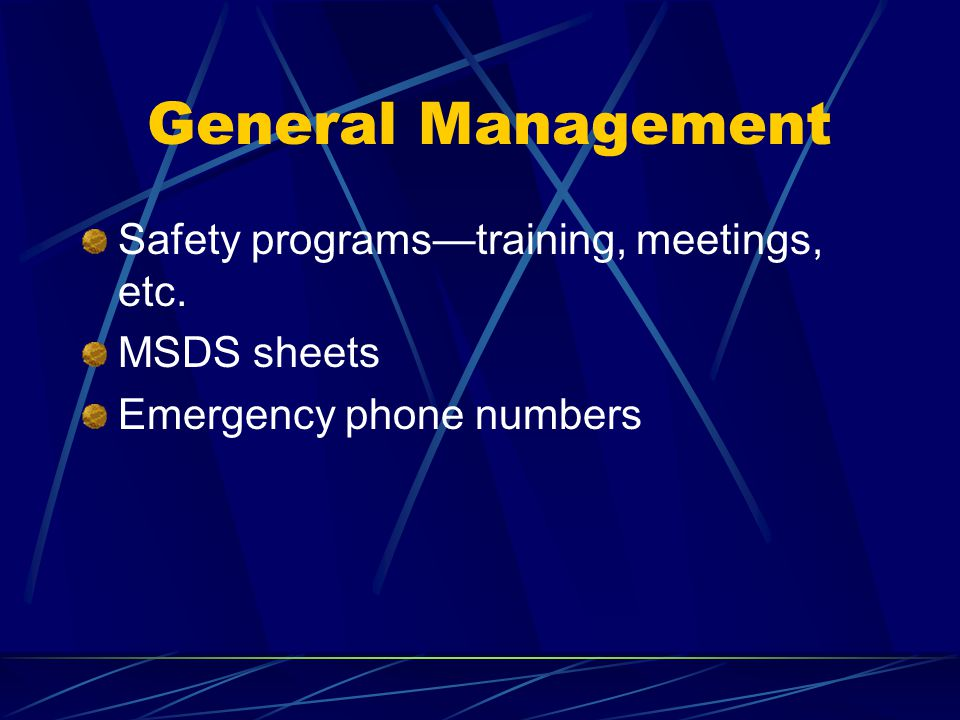 General Management Safety programs—training, meetings, etc.