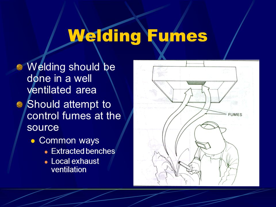 Welding Fumes Welding should be done in a well ventilated area