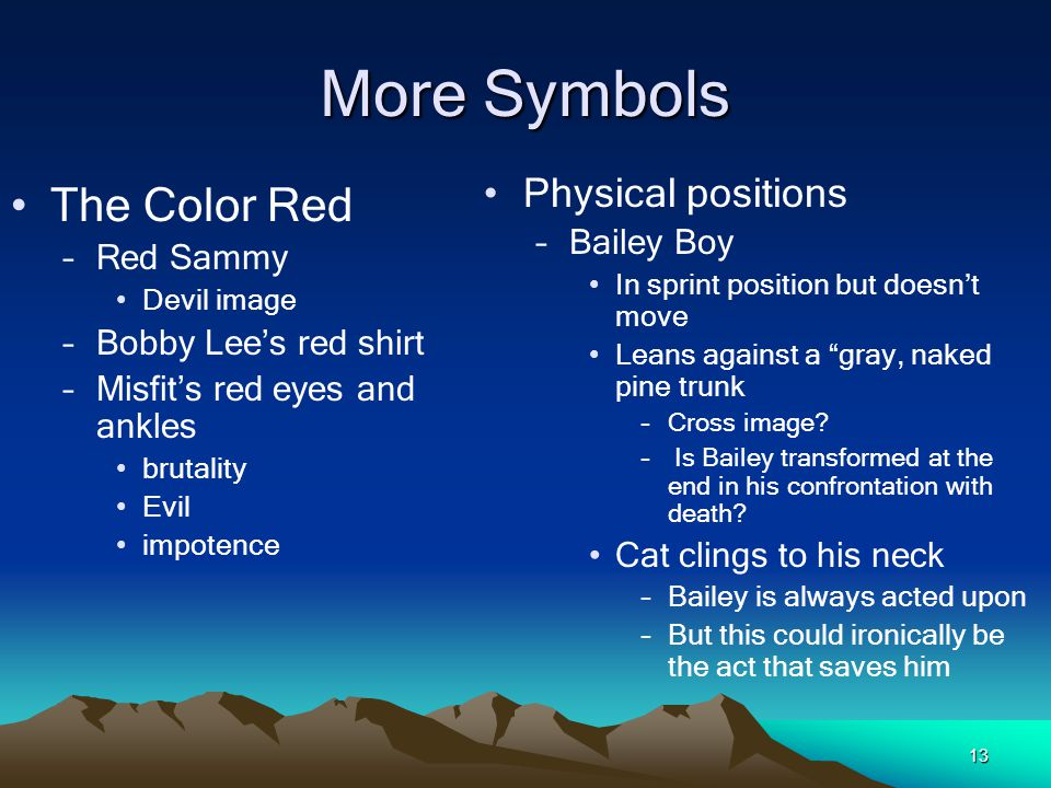 More Symbols The Color Red Physical positions Bailey Boy Red Sammy