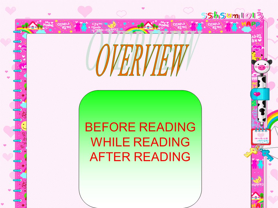 OVERVIEW BEFORE READING WHILE READING AFTER READING