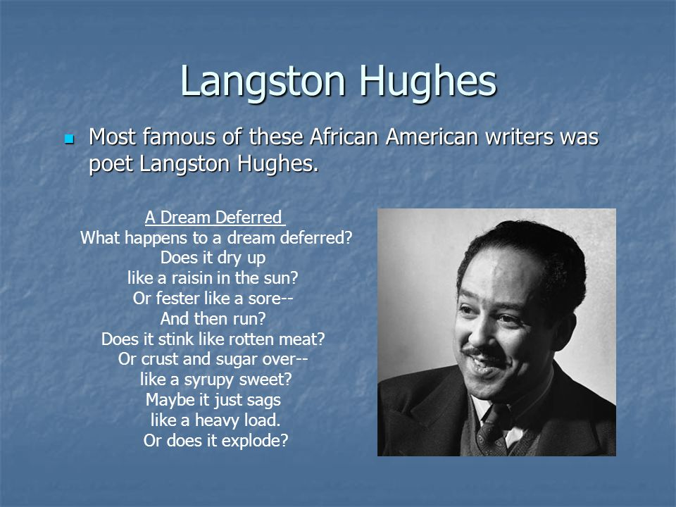 Langston Hughes Most famous of these African American writers was poet Langston Hughes. A Dream Deferred.