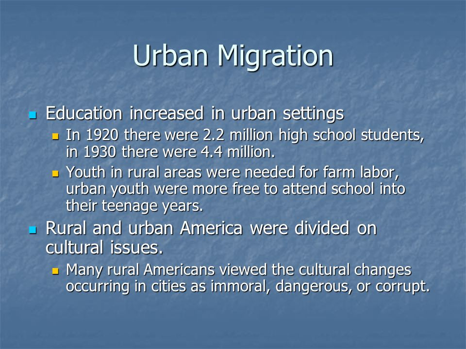 Urban Migration Education increased in urban settings