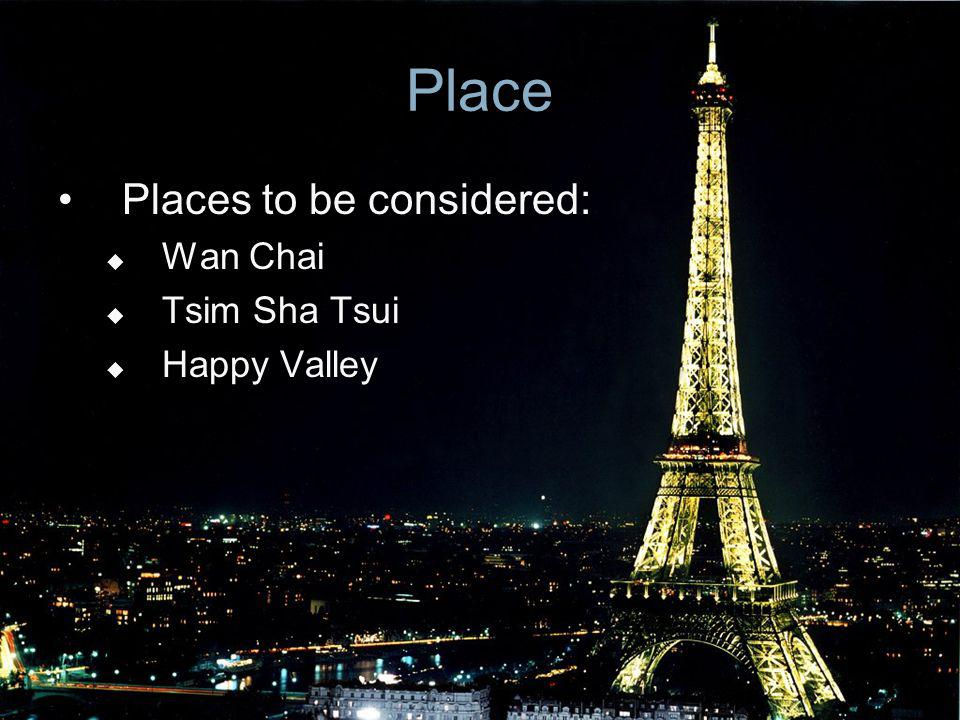Place Places to be considered: Wan Chai Tsim Sha Tsui Happy Valley