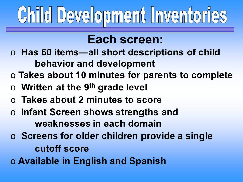Child Development Inventories