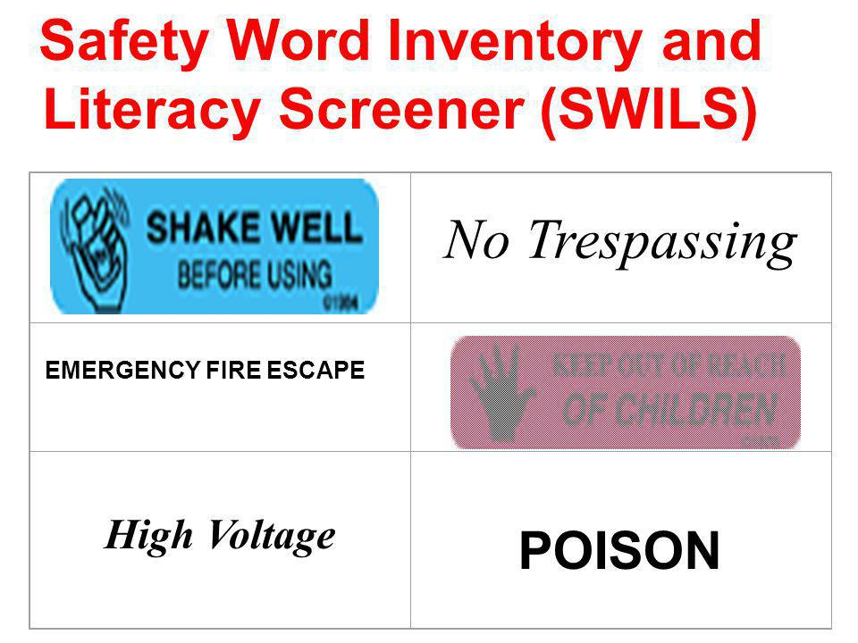 Safety Word Inventory and Literacy Screener (SWILS)