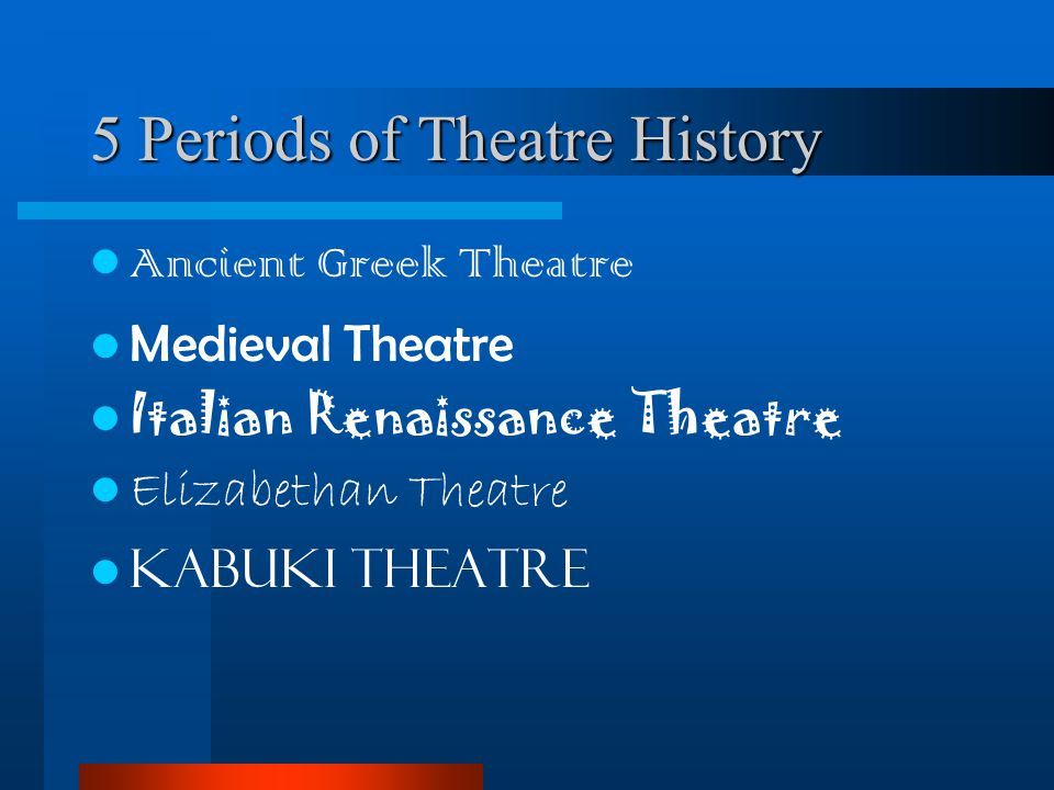 5 Periods of Theatre History
