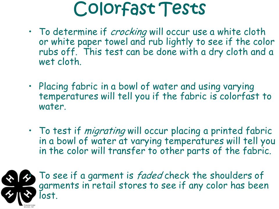 Colorfast Tests