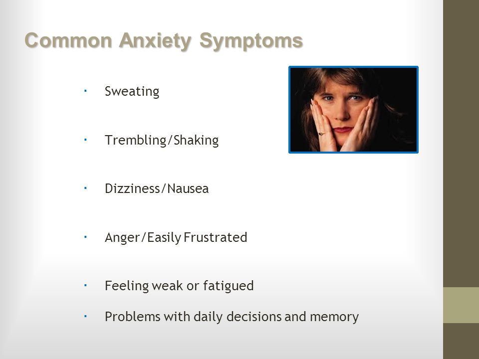 the early signs and symptoms of generalized anxiety disorder Anxiety disorder has different types, and the symptoms may differ according to the type of attack this article provides information on the major symptoms of anxiety attacks anxiety is considered your body's natural response to danger.