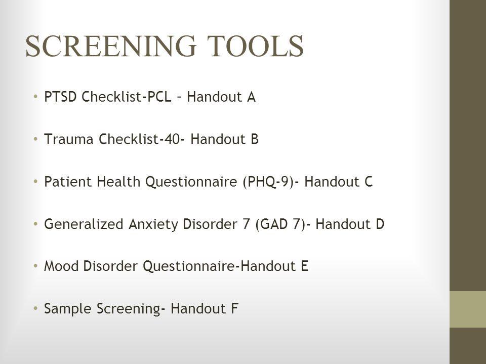 SCREENING TOOLS PTSD Checklist-PCL – Handout A