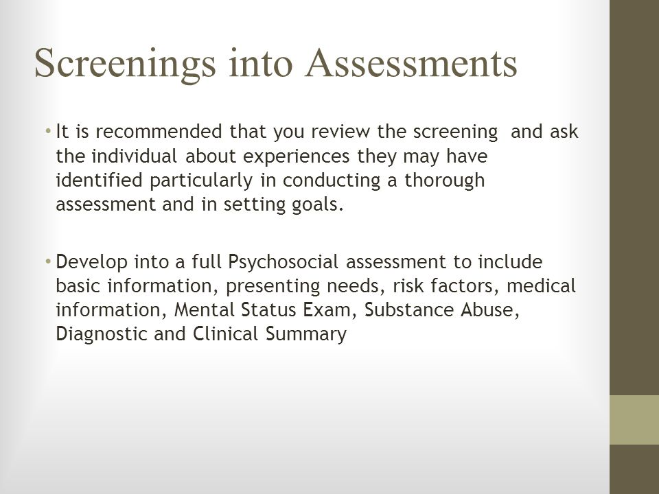 Screenings into Assessments