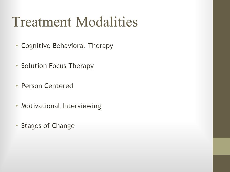 Treatment Modalities Cognitive Behavioral Therapy