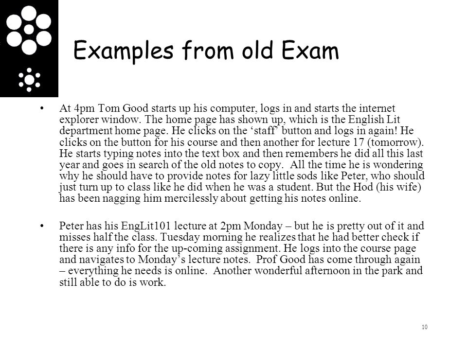 Examples from old Exam