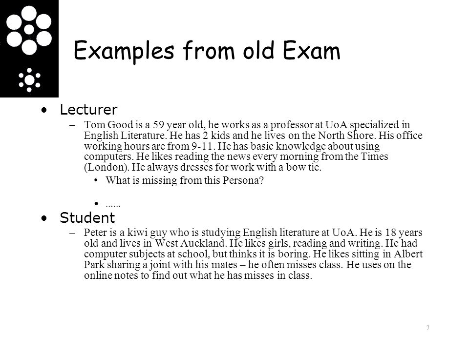 Examples from old Exam Lecturer Student