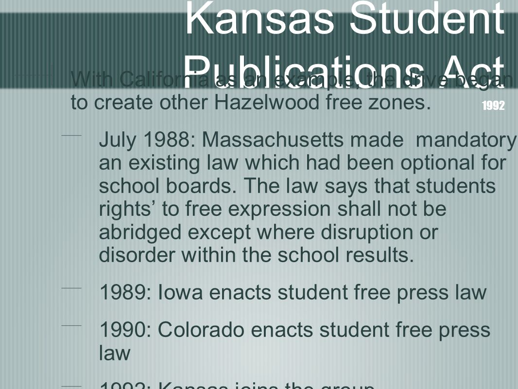 Kansas Student Publications Act 1992