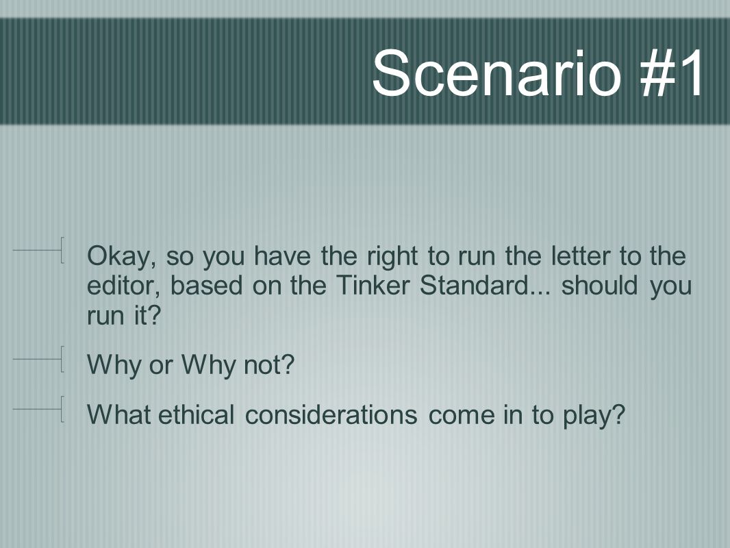 Scenario #1 Okay, so you have the right to run the letter to the editor, based on the Tinker Standard... should you run it