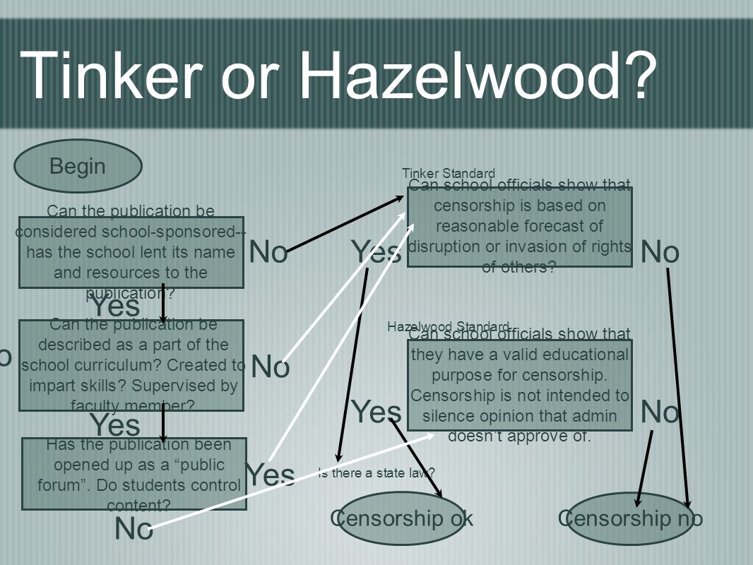 Tinker or Hazelwood No Yes No Yes No No Yes No Yes Yes No Begin