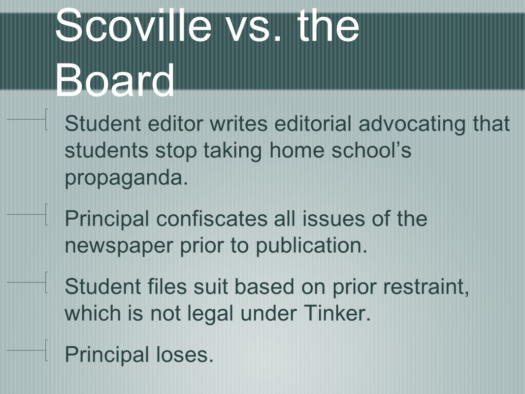 Scoville vs. the Board Student editor writes editorial advocating that students stop taking home school's propaganda.