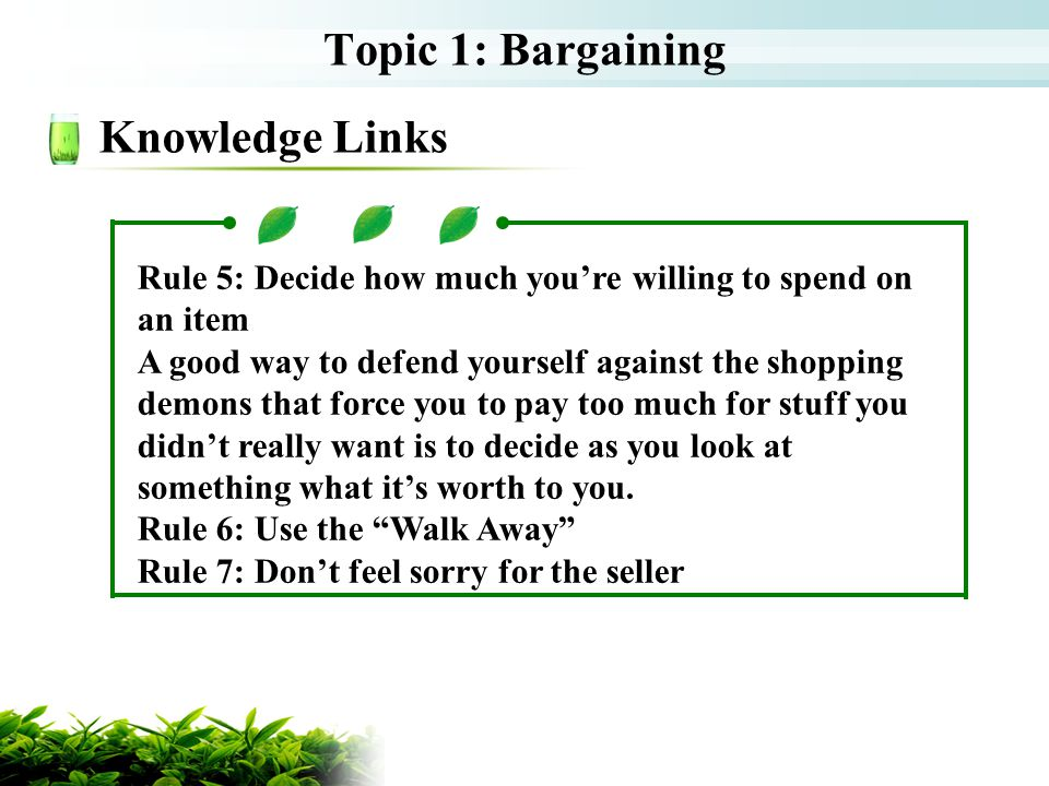 Topic 1: Bargaining Knowledge Links