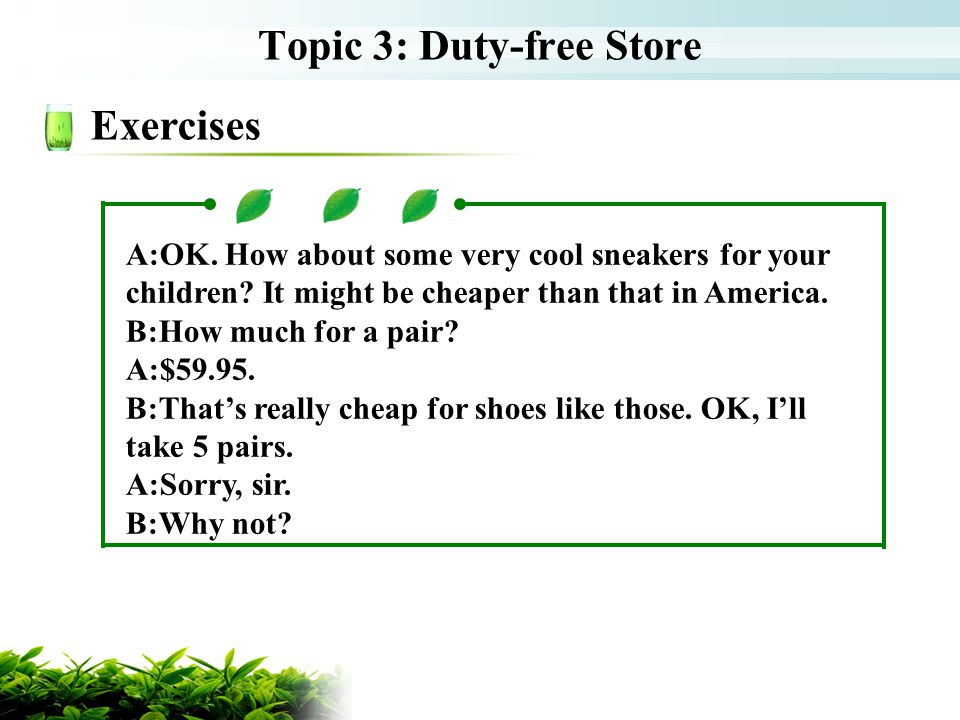 Topic 3: Duty-free Store
