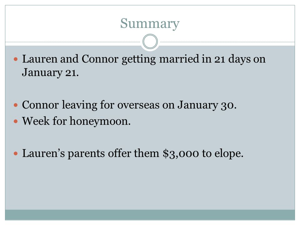 Summary Lauren and Connor getting married in 21 days on January 21.