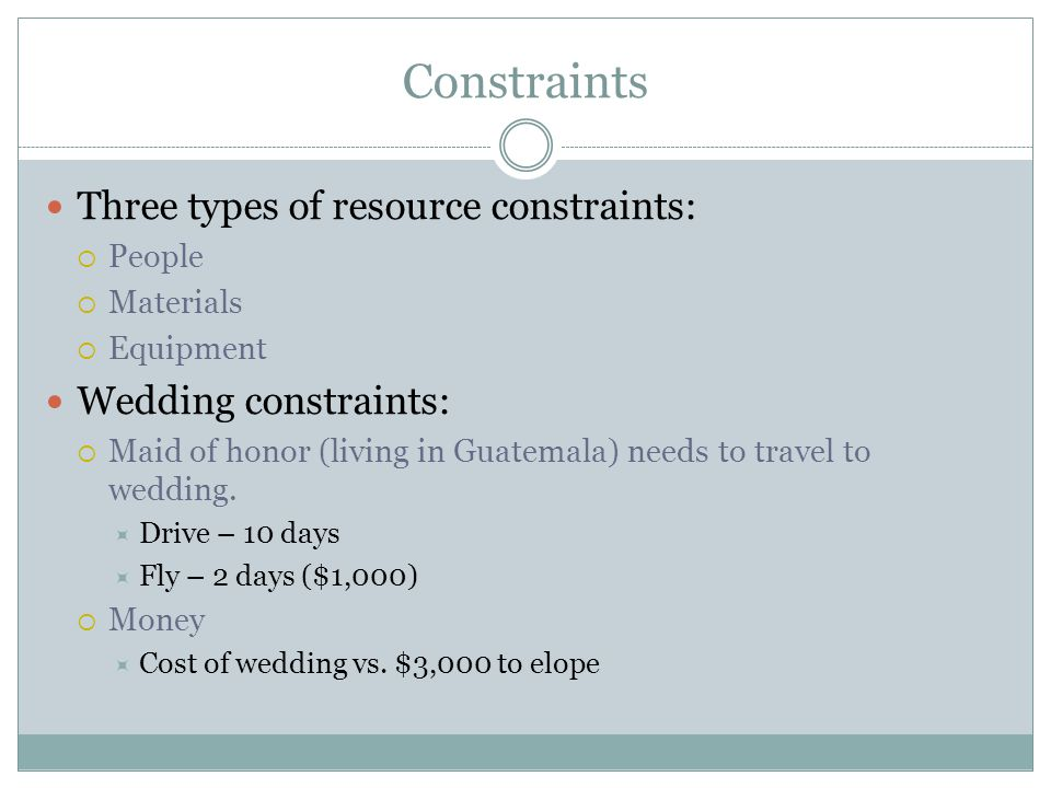 Constraints Three types of resource constraints: Wedding constraints: